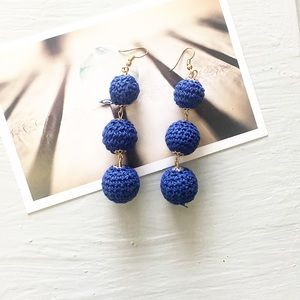 Knitted ball drop earrings